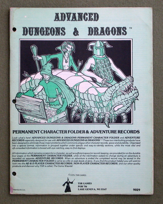 Image for Permanent Character Folder & Adventure Records (Advanced Dungeons & Dragons)