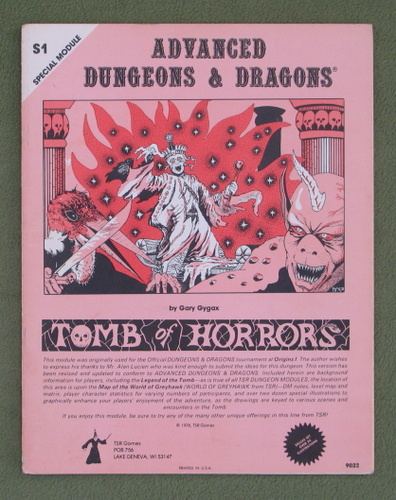 Image for Tomb of Horrors (Advanced Dungeons & Dragons Module S1) - 1ST PRINT