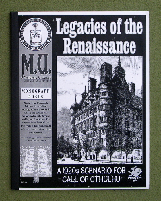 Image for Legacies of the Renaissance: A 1920s Scenario for Call of Cthulhu (Call of Cthulhu Monograph #0318)