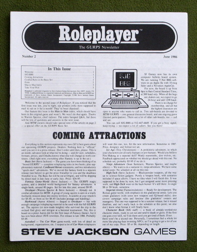 Image for Roleplayer, Number 2: The GURPS Newsletter (Magazine)
