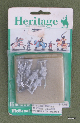 Image for 11th-12th Century Armoured Infantry Advancing with Halbard (25mm Metal Miniatures: Heritage Hinchliffe Medieval)