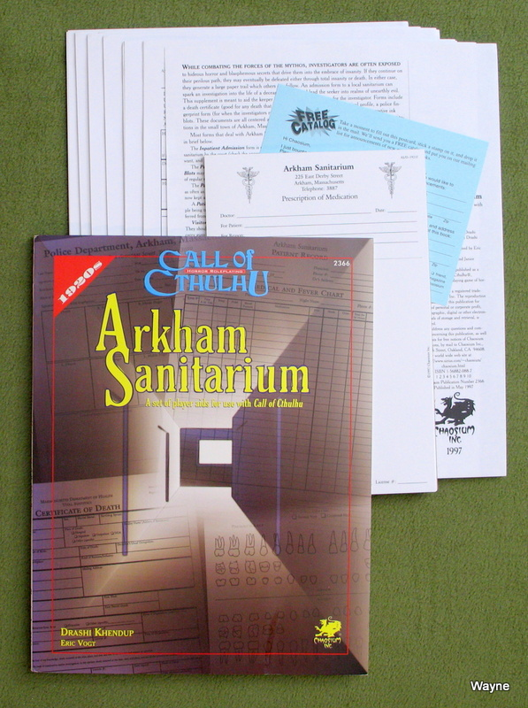 Image for Arkham Sanitarium: A set of player aids for use with Call of Cthulhu