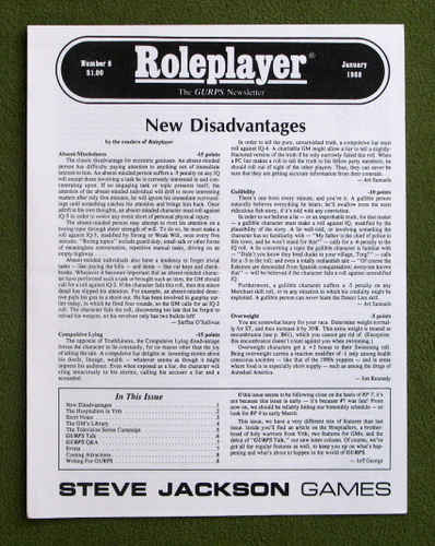 Image for Roleplayer, Number 8: The GURPS Newsletter (Magazine)