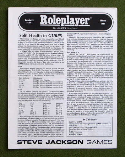 Image for Roleplayer, Number 9: The GURPS Newsletter (Magazine)