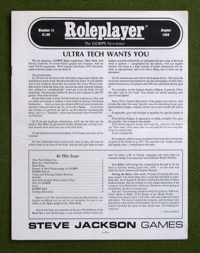 Image for Roleplayer, Number 11: The GURPS Newsletter (Magazine)
