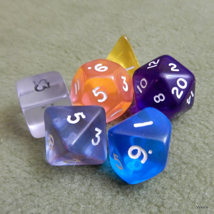 Image for Mixed Color Translucent 6 Dice Set