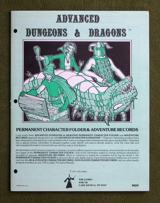 Image for Permanent Character Folder & Adventure Records (Advanced Dungeons & Dragons) - WRITING
