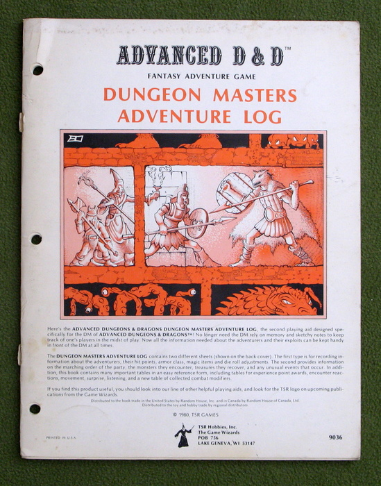 Image for Dungeon Masters Adventure Log (Advanced Dungeons & Dragons, 1st edition) - PLAY COPY