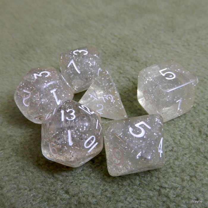 Image for Clear Translucent Glitter 6 Dice Set