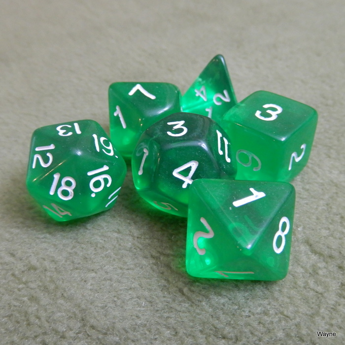 Image for Translucent Green 6 Dice Set