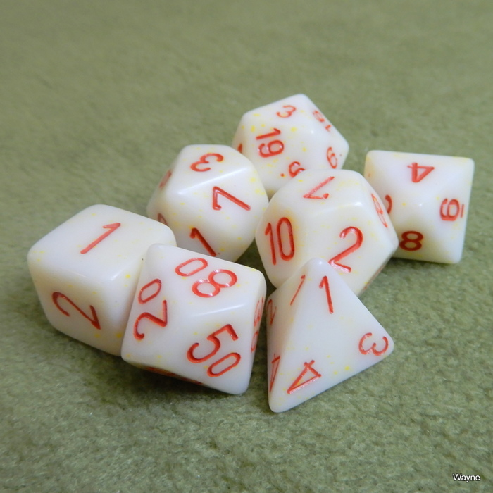 Image for Ivory - Red Numbered 7 Dice Set