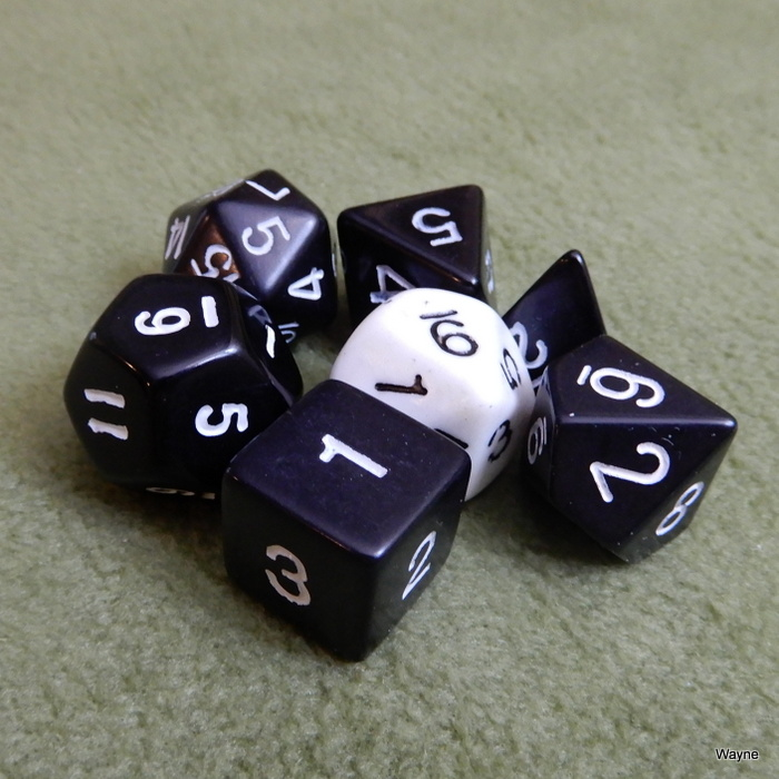 Image for Black White 7 Dice Set