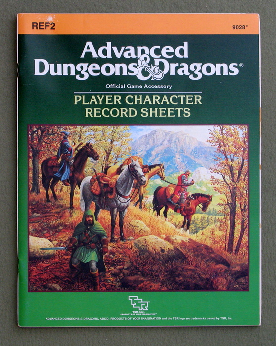 Image for Player Character Record Sheets (Advanced Dungeons & Dragons accessory REF2)
