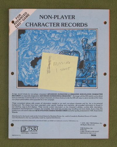 Image for Non-Player Character Records (Advanced Dungeons & Dragons)