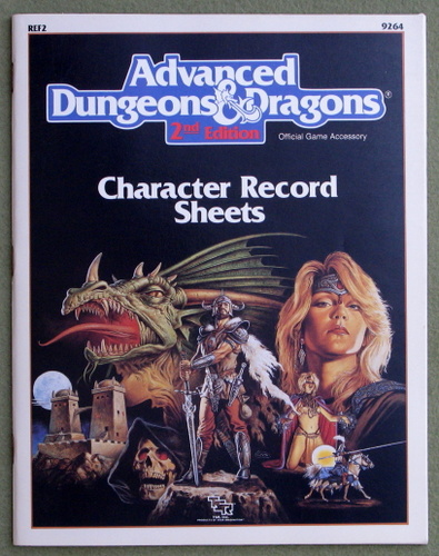Image for Character Record Sheets (Advanced Dungeons & Dragons, 2nd Edition Accessory REF2) - PLAY COPY