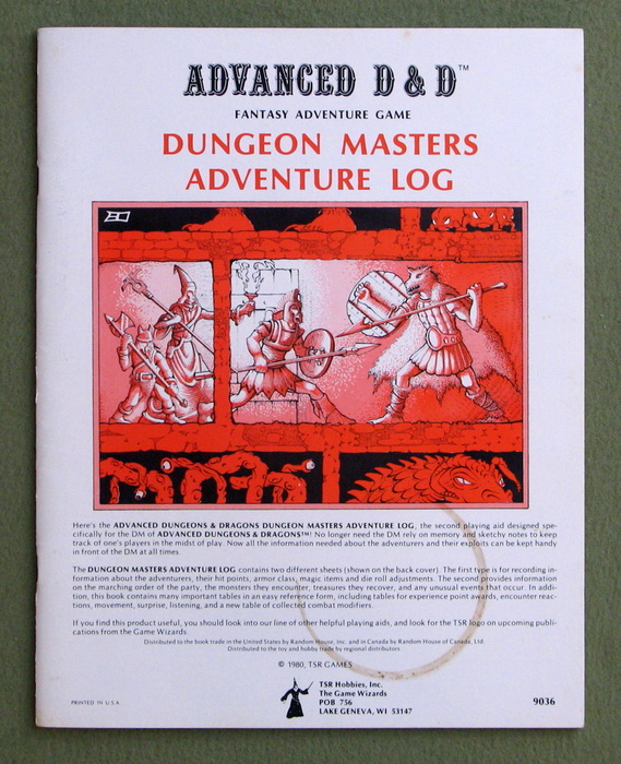 Image for Dungeon Masters Adventure Log (Advanced Dungeons & Dragons, 1st edition)