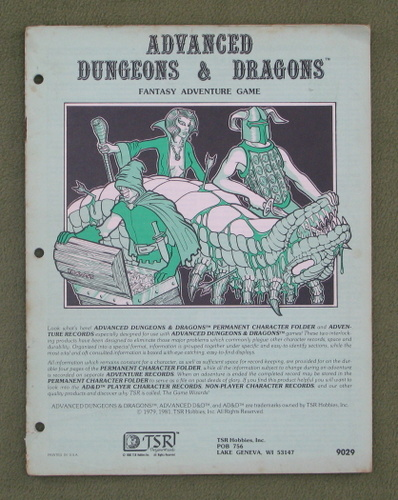 Image for Permanent Character Folder & Adventure Records (AD&D) - PLAY COPY