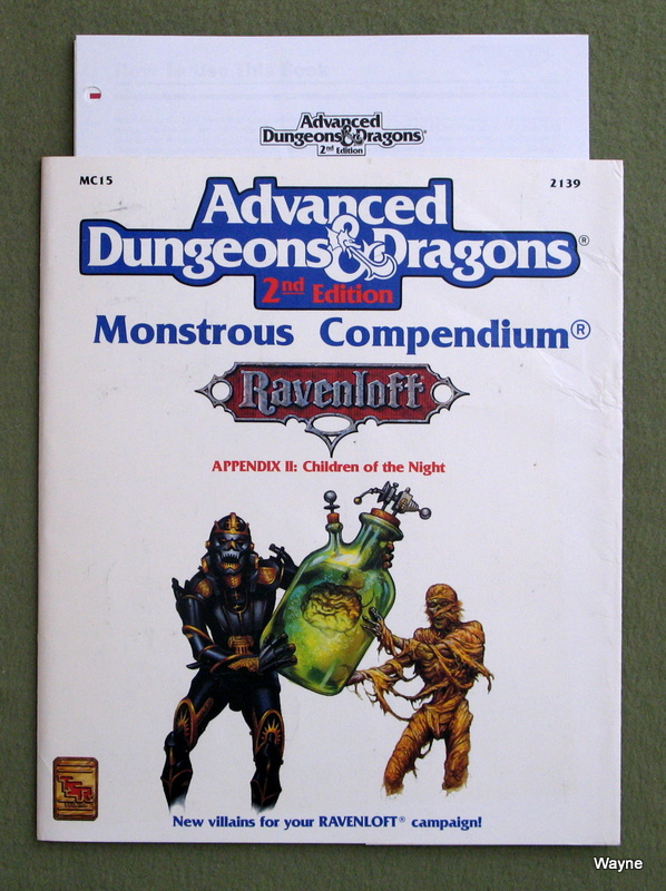 Image for Ravenloft Monstrous Compendium Appendix II: Children of the Night (Advanced Dungeons & Dragons, 2nd Edition) - MISSING DIVIDERS