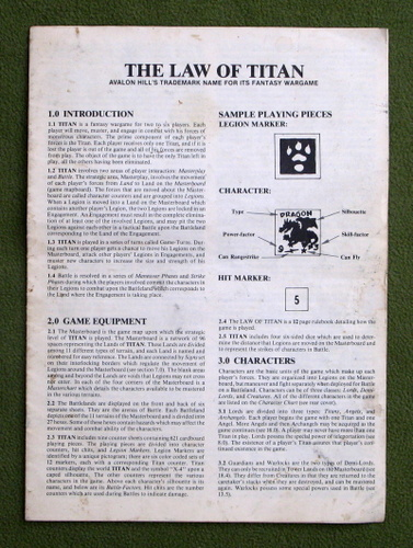 "Image for Titan Rules Booklet - ""The Law of Titan"" - PLAY COPY"