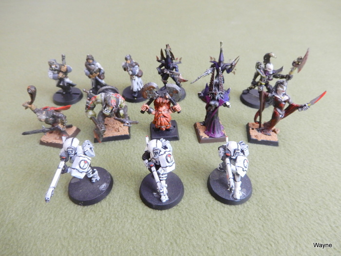 Image for Warhammer Miniatures Lot: WH40k and WHFB (14 painted minis)