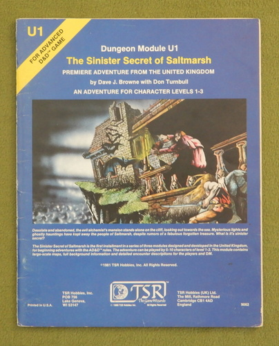 Image for The Sinister Secret of Saltmarsh (Advanced Dungeons & Dragons Module U1)