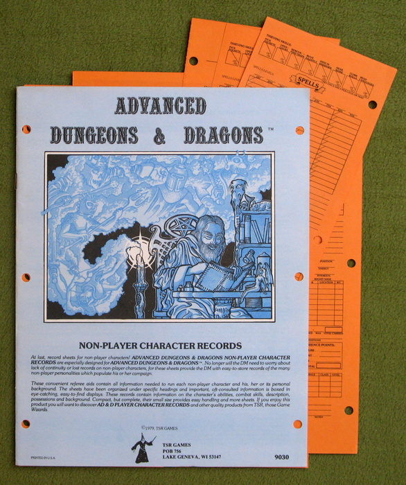 Image for Non-Player Character Records (Advanced Dungeons & Dragons) - PLAY SET