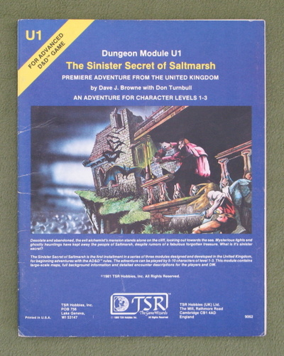 Image for The Sinister Secret of Saltmarsh (AD&D U1) - PLAY COPY
