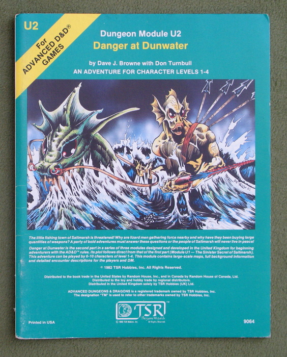 Image for Danger at Dunwater (Advanced Dungeons & Dragons Module U2)