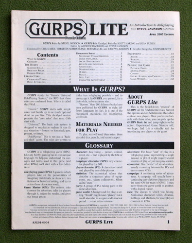Image for GURPS Lite (Fourth Edition)