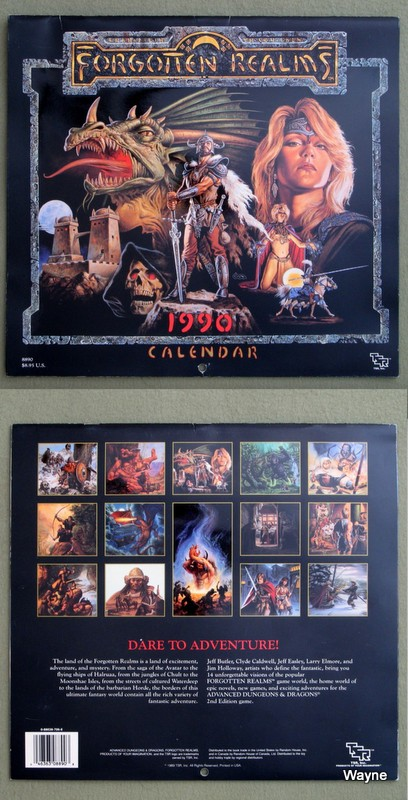 1990 Advanced Dungeons & Dragons Calendar: Forgotten Realms