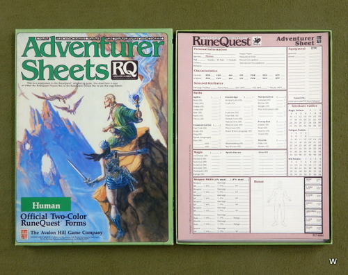 Image for Adventurer Sheets: Human (Runequest 3rd edition)