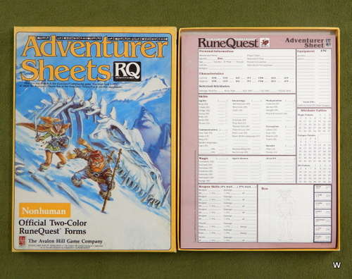 Image for Adventurer Sheets: Nonhuman (Runequest 3rd edition)