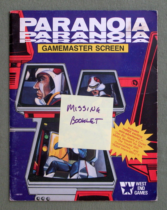 Image for Paranoia Gamemaster Screen (Paranoia, 1st Edition) - MISSING BOOKLET