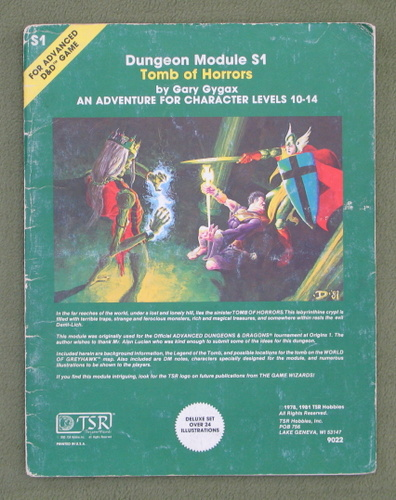 Image for Tomb of Horrors (AD&D Module S1) - PLAY COPY