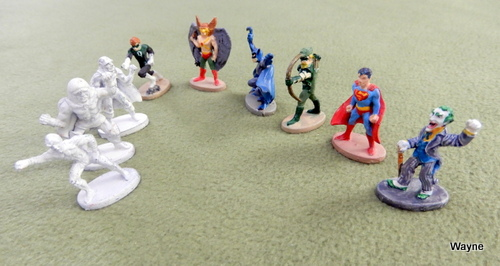 Image for Nine (9) Grenadier DC HEROES Metal Miniatures: Superman, Hawkman, Joker, Darkseid, Batman, Green Arrow, Sinestro, Martian Manhunter, Green Lantern.