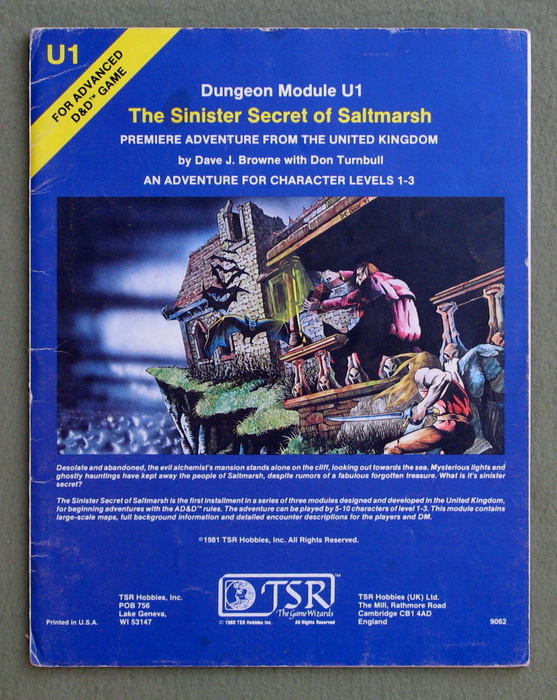 Image for The Sinister Secret of Saltmarsh (Advanced Dungeons & Dragons Module U1) - PLAY COPY