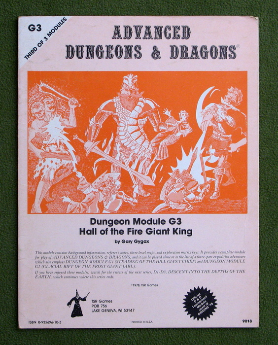 Image for Hall of the Fire Giant King (Advanced Dungeons & Dragons Module G3) - PLAY COPY
