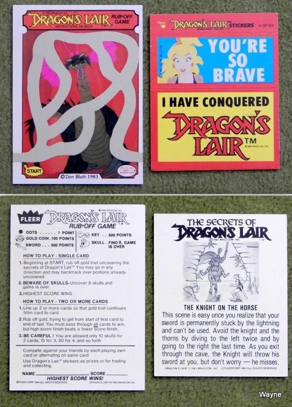 Image for Dragon's Lair Cards Pair, Fleer, 1984 (Rub-off Game & Stickers)