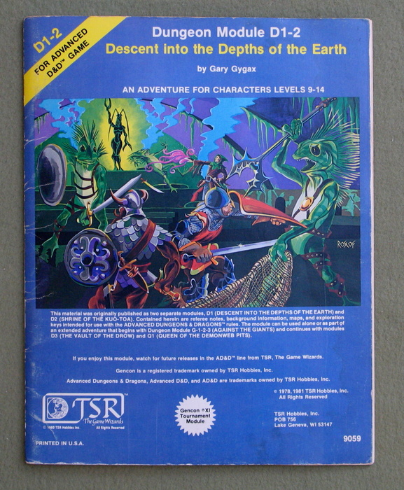 Image for Descent into the Depths of the Earth (Advanced Dungeons and Dragons Module D1-2)