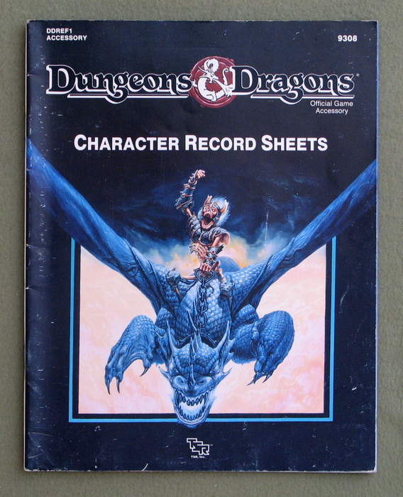 Image for Dungeons and Dragons Character Record Sheets (Dungeons and Dragons Accessory DDREF1) - PLAY COPY