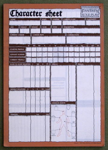 Image for Character Sheet Pad (Warhammer Fantasy Role-Play)