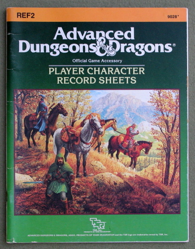 Image for Player Character Record Sheets (Advanced Dungeons & Dragons accessory REF2) - PLAY COPY