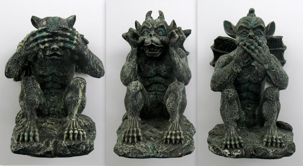 Image for Gargoyle Figurines - Set of Three Wise Gargoyles - Speak No Evil Gargoyle 5132, See No Evil Gargoyle 5133, Hear No Evil Gargoyle 5134