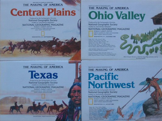 Image for The Making of America #9-12: Central Plains, Ohio Valley, Texas, Pacific Northwest (National Geographic 4 Map Set)
