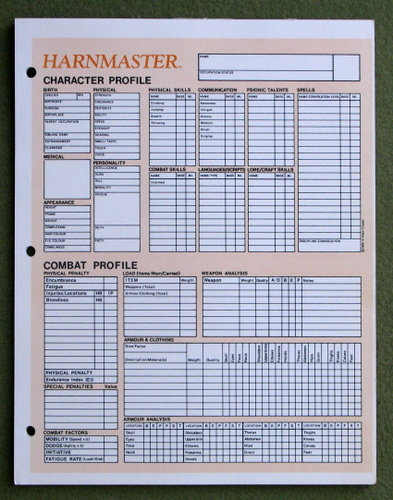 Image for Harnmaster Character Profile (Character Sheets)