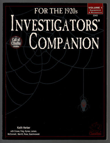 Image for Investigator's Companion for the 1920s: Volume 1 - Equipment & Resources (Call of Cthulhu)