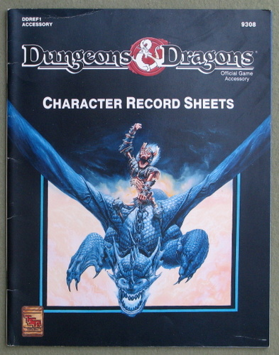 Image for Dungeons and Dragons Character Record Sheets (Dungeons and Dragons Accessory DDREF1)